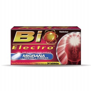 Bio-Electro Dolor de cabeza y Migraña 24 Tabletas con paracetamol